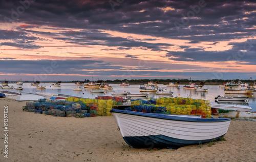 Valokuvatapetti Sunset in Punta Umbria shipping village in Huelva, Spain.