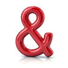 Red Ampersand Symbol 3d Illust...