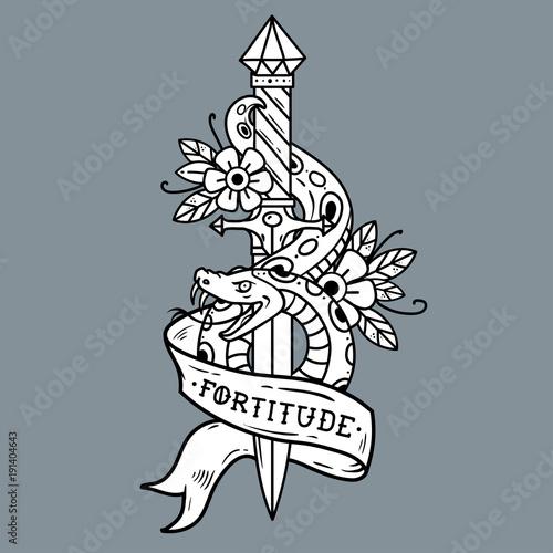 Tattoo dagger, snake, ribbon. Lettering Fortitude. Fototapete
