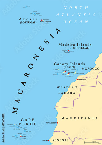 Map Of Canary Islands And Africa.Macaronesia Political Map Azores Cape Verde Madeira And