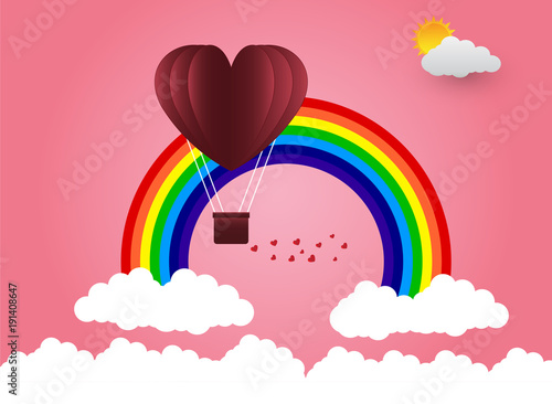 In de dag Candy roze valentine's Day balloon heart-shaped floating in the sky and beautiful mountains cloud.paper art.
