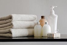 Pile Of Towels, Bottles With S...