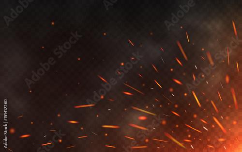 Fotografie, Obraz Fire sparks flying up on transparent background