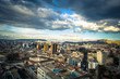 Quito - August 17, 2018: Panorama of Quito from the Basilica of the National Vote in Quito, Ecuador