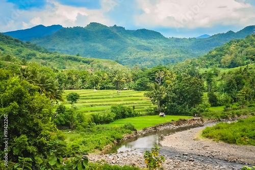 Fotobehang Rijstvelden River valley in Sumbava