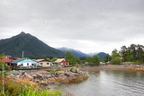 Fotografie, Obraz  Houses at Harbor Drive, Sitka , Alaska.