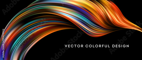 Poster de jardin Abstract wave 3d Abstract colorful fluid design. Vector illustration