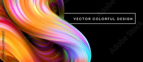 Fotografie, Obraz  3d Abstract colorful fluid design. Vector illustration