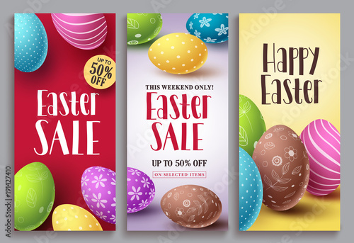 Fototapety, obrazy: Easter sale vector poster set with colorful eggs elements for retail discount promotion. Easter background template with space for text. Vector illustration.
