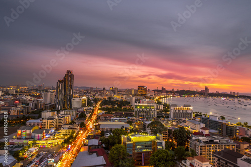 Cadres-photo bureau Bangkok Landscape at nigth time of pattaya city with colurful light in city.
