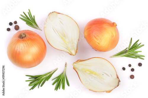 Fototapeta onions with rosemary and peppercorns isolated on a white background. Top view. Flat lay obraz