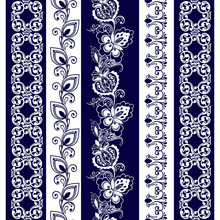 Set Of Lace Bohemian Seamless Borders. Stripes With Blue Floral Motifs. Decorative Ornament Backdrop For Fabric, Textile, Wrapping Paper.