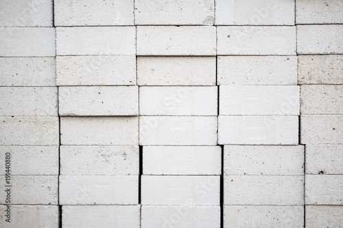 White autoclaved aerated lightweight concrete block stack texture Canvas Print