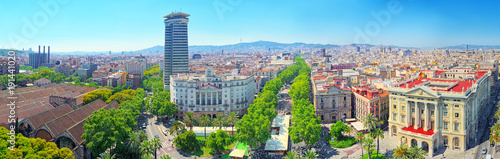 Fotografie, Obraz  Panorama on whole Barcelona modern and historical areas. Spain.