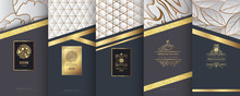 Collection Of Design Elements,labels,icon,frames, For Packaging,design Of Luxury Products.Made With Golden Foil.Isolated On Silver And Marble Background. Vector Illustration