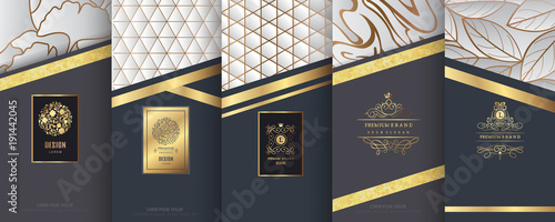 Fototapeta Collection of design elements,labels,icon,frames, for packaging,design of luxury products.Made with golden foil.Isolated on silver and marble background. vector illustration obraz