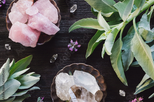 Fotografie, Obraz  Quartz and Rose Quartz  Crystals and Sage