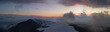 Drone aerial sunset at the Monte Pora ski area in winter season. Orobie Alps