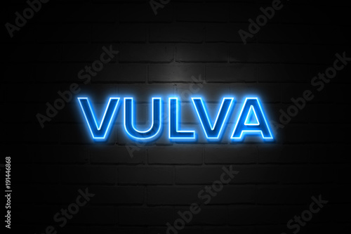 Fotografie, Obraz  Vulva neon Sign on brickwall