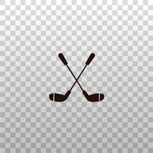 Crossed Golf Clubs - Monochrom...