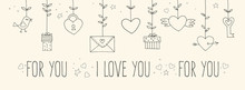 Love Decorative Vintage Elements On White Background. Hand Drawn Collection With Heart, Wings, Branch With Leaves, Bird, Gift, Lock, Key, Letter And Lettering. Doodle Set, Cartoon Romantic Objects