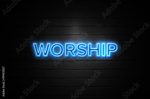 Worship neon Sign on brickwall Canvas Print