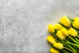 Fototapeta Tulipany - Easter background with spring tulips, bouquet for mothers day or flowers for women's day at 8 march