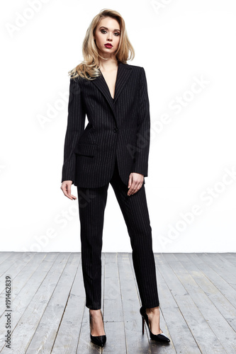 5c37bfe21eab0 Beautiful elegant business woman blond hair wear style fashion formal dress  code black suit pants and jacket pretty lady clothes office meeting white  ...