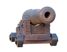 Old Medieval Artillery Canon On White