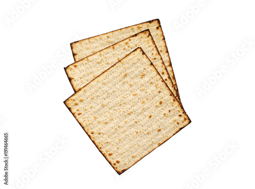 Matzah isolated on white, jewish traditional Passover bread. Pesach celebration symbol.