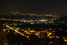Panorami Marchigiani Notturni Dal Belvedere Di Loreto, Ancona, Marche, Italia