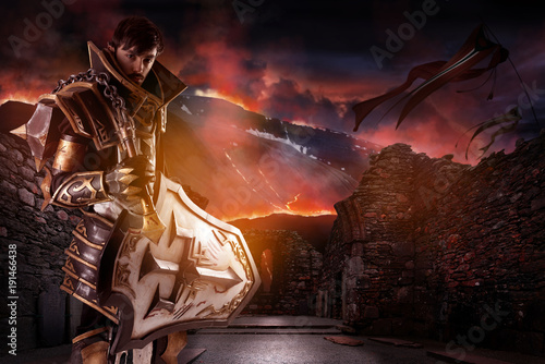 Cuadros en Lienzo Man with knight costume