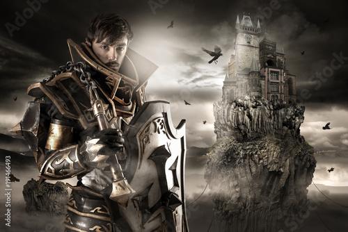 Fotografie, Obraz  Man with knight costume