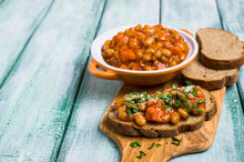 Open Sandwich With Beans And V...