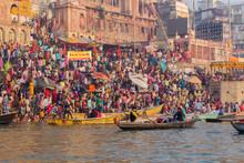 Varanasi Ghats, Diwali Festival, Ganges River And Boats, Uttar Pradesh, India