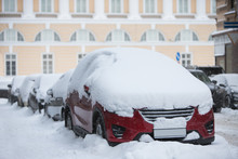 Cars Covered In A Thick Layer ...