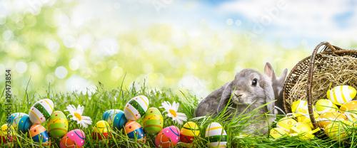 Plakat króliczek z koszem jaj w krajobrazie przyrody