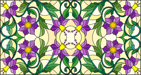 Naklejka Illustration in stained glass style with abstract swirls,purple flowers and leaves on a yellow background,horizontal orientation