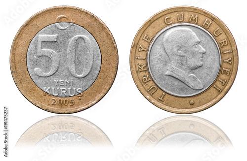 Fotografia  50 kurus coin, Turkey, 2005