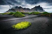 Great Wind Rippled Beach Black Sand. Location Vestrahorn, Iceland, Europe.