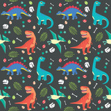 Fototapeta Dinusie - Baby Dinosaur Seamless Pattern Colorful Vector Illustration Dark Background