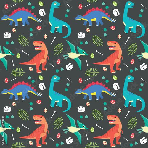 baby-dinosaur-seamless-pattern-colorful-vector-illustration-dark-background