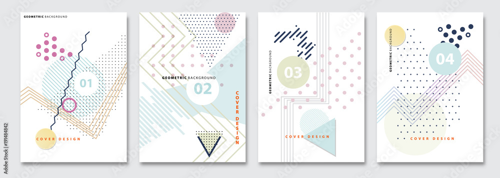 Fototapeta Cover templates set, vector geometric abstract background. Flyer, presentation, brochure, banner, poster design. Memphis, modern bauhaus style.