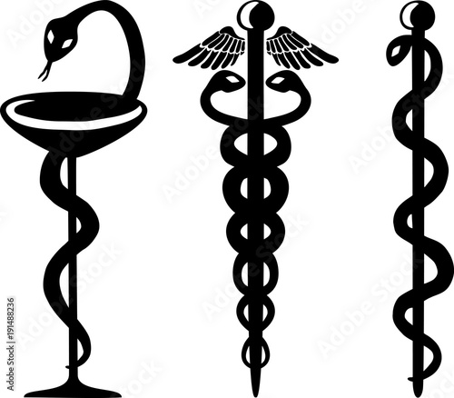 Snake And Cup Caduceus And Staff Of Asclepius Medical Symbols