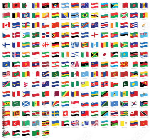 All national waving flags from all over the world with names - high quality vector flag isolated on white background Fototapete