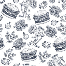 Burger Engaved Seamless Pattern. Fast Food Background. Vector Illustration