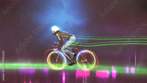 man riding a mountain bike with neon lights on wheels at night, digital art style, illustration painting