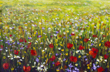 Red Poppies Flower Field Oil Painting, Yellow, Purple And White Flowers In Green Grass Artwork
