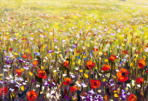 Red poppies flower field oil painting, yellow, purple and