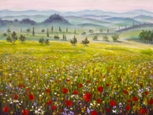 Artwork Italian Tuscany Cypresses Landscape With Mountains, Flowers Red Poppies Field Painting On Canvas. Illustration Art.